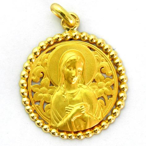 medalla ave postal calada con orla bolitas oro amarillo