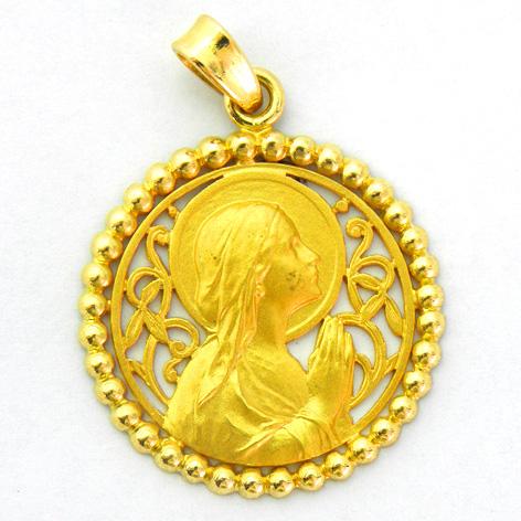 medalla ave manos calada con orla bolitas oro amarillo