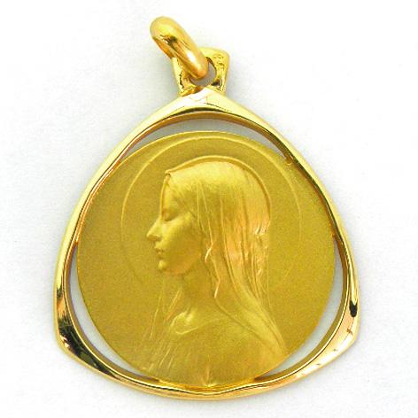 medalla ave velo orla forma triangular calada oro amarillo