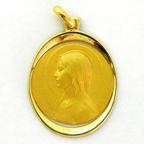 medalla ave velo orla forma oval calada oro amarillo