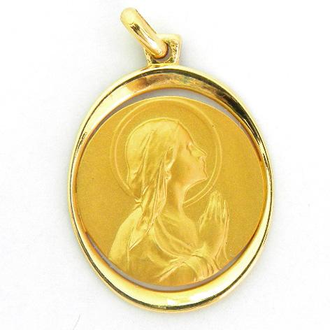 medalla ave manos orla forma oval calada oro amarillo