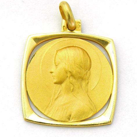 medalla ave velo orla forma cuadrada calada oro amarillo
