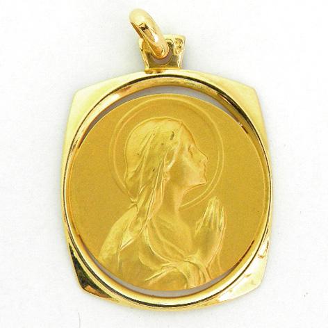 medalla ave manos orla forma rectangular calada oro amarillo