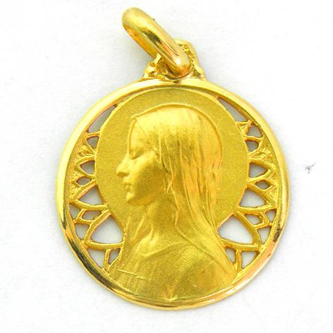 medalla ave velo calada con bisel pulido oro amarillo