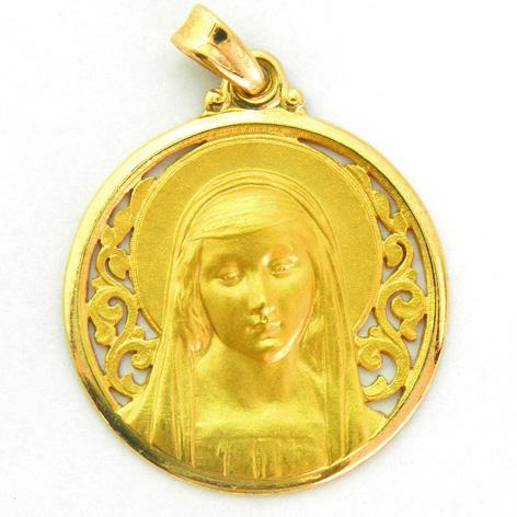 medalla ave rafael calada con bisel pulido oro amarillo