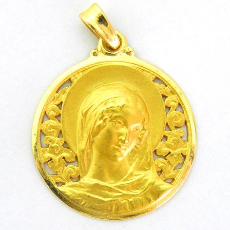 medalla ave gargallo calada con bisel pulido oro amarillo