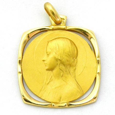 medalla ave velo orla cuadrada calada oro amarillo