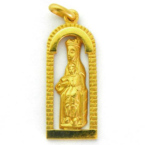 Medalla nuestra señora de meritxell capilla calada oro amarillo