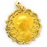 medalla ave manos calada bisel ondas orla oro amarillo