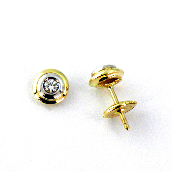 Pendientes con brillantes doble bisel bicolor oro blanco y amarillo