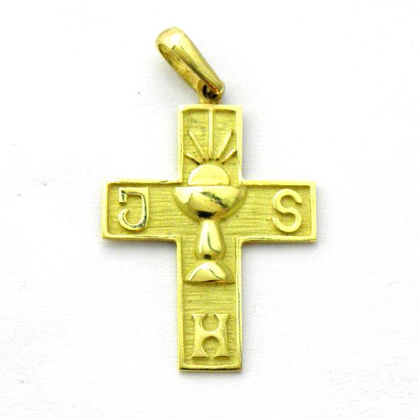 cruz fondo mate con caliz y letras brillo oro amarillo