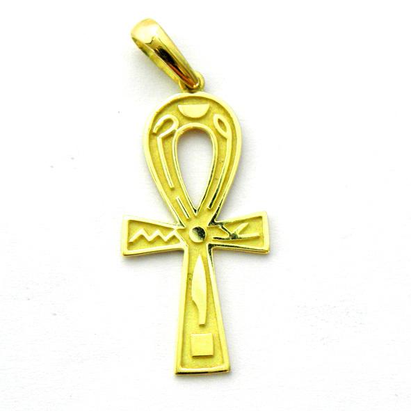 cruz de la vida mate bisel y dibujos brillo oro amarillo