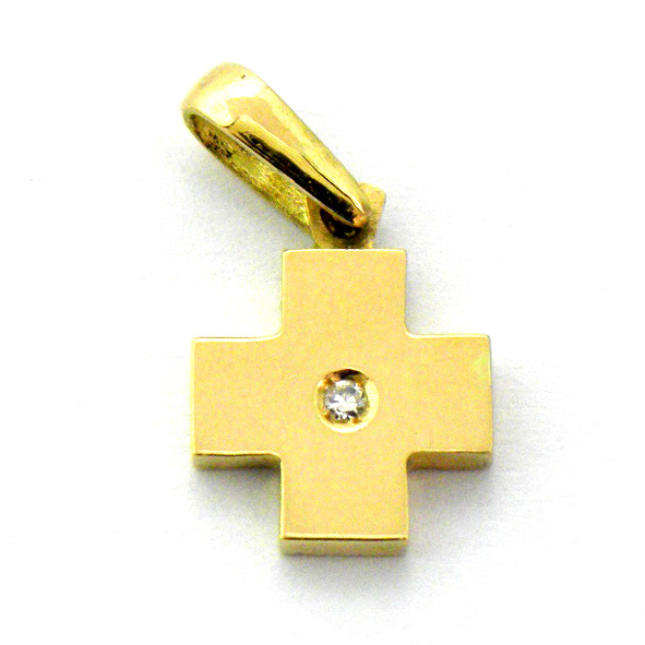 Cruz lisa brillo brazos simetricos con brillante pequeña oro amarillo