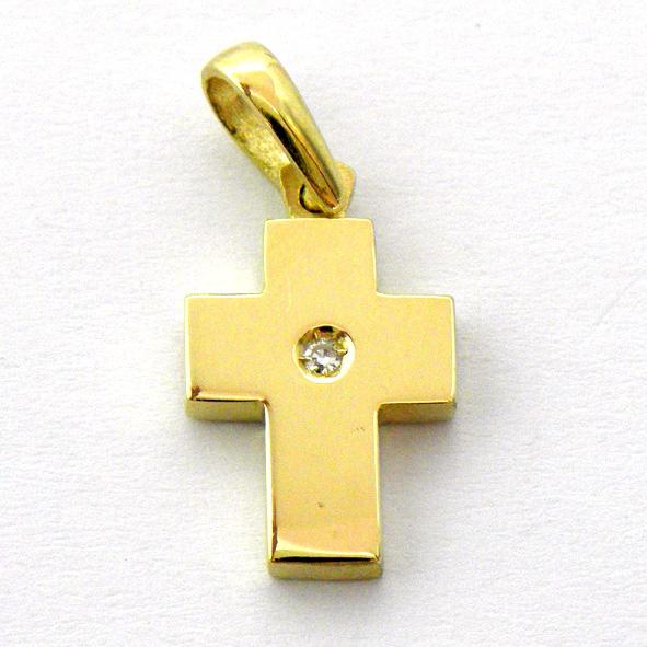 cruz lisa brillo pequeña con brillante oro amarillo