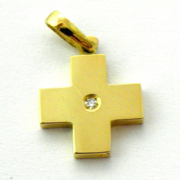 cruz lisa brillo brazos simetricos con brillante oro amarillo
