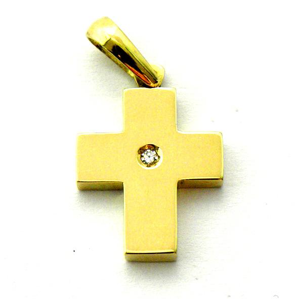 cruz lisa brillo con brillante en el centro oro amarillo