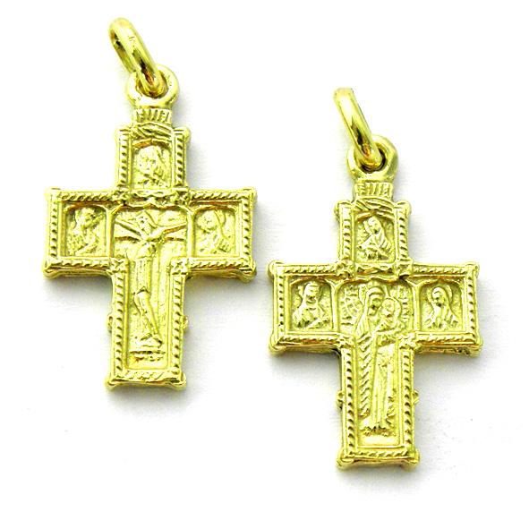 cruz bizantina con Cristo y Virgen oro amarillo