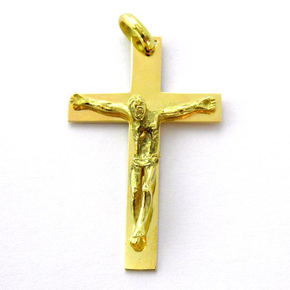 cruz lisa brillo con Cristo oro amarillo