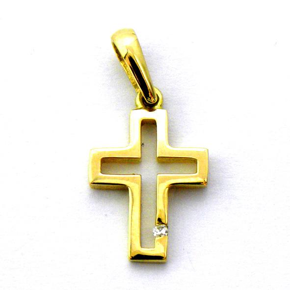 cruz calada brillo con brillante oro amarillo