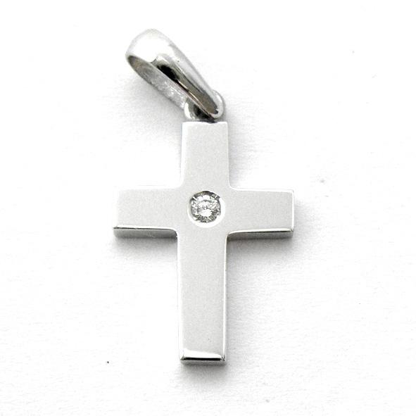 cruz lisa oro blanco brillo con brillante