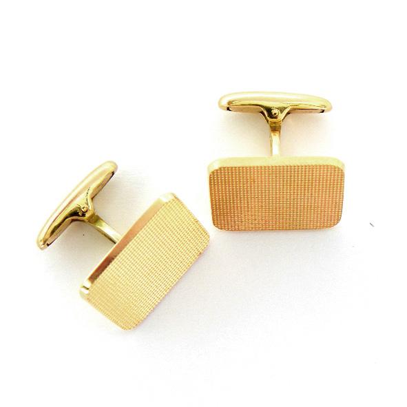 gemelos forma rectangular fresados oro amarillo