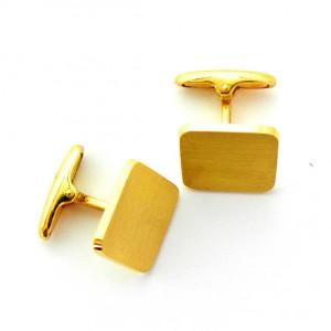 gemelos forma cuadrada mate oro amarillo