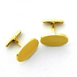 gemelos forma ovalada mate grandes oro amarillo