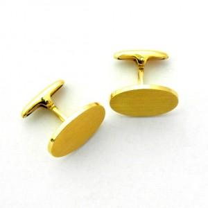 gemelos forma ovalada mate oro amarillo