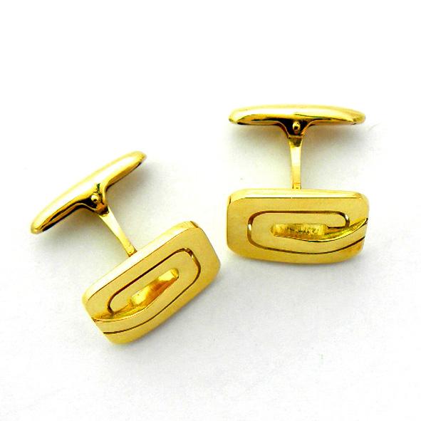 gemelos forma rectangular calados brillo oro amarillo