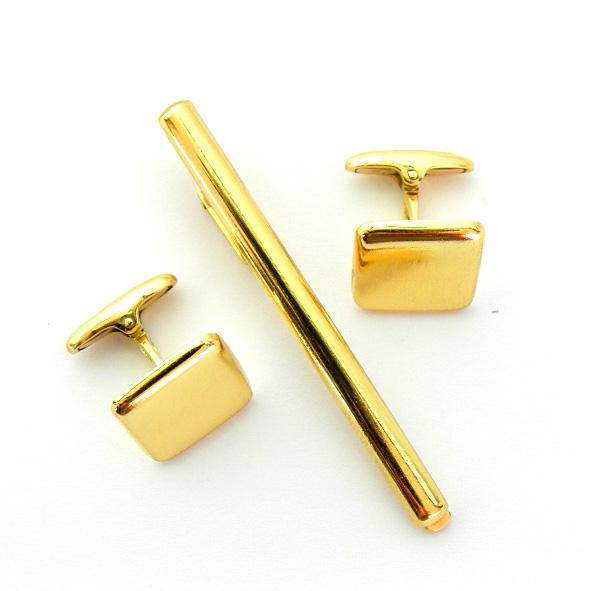 juego gemelos y pasador forma cuadrada brillo oro amarillo