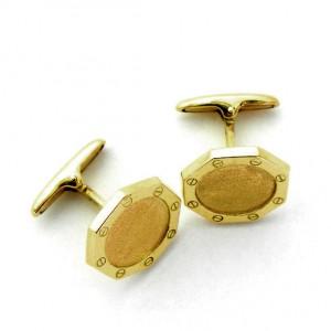 gemelos forma octogona con bisel tornillos oro amarillo