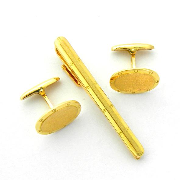juego gemelos y pasador forma ovalada bisel tornillos oro amarillo