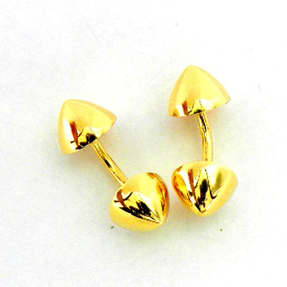 gemelos dos conos rigidos brillo oro amarillo
