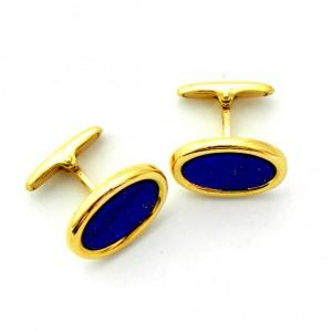 gemelos forma oval con piedra lapislazuli oro amarillo