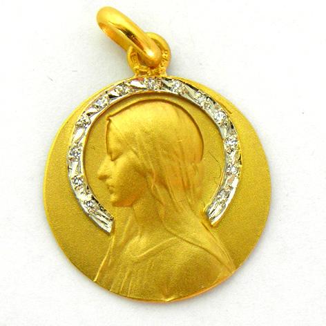 medalla ave velo con corona de brillantes oro amarillo
