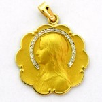 medalla ave velo con corona de brillantes bisel ondas oro amarillo