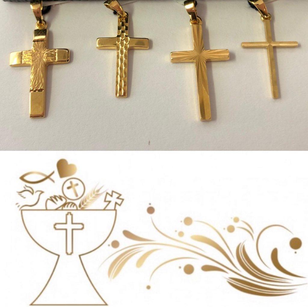 Cruces en oro amarillo con distintos motivos/grabados, para todos los gustos. Sin duda una genial opción que nunca pasa de moda.