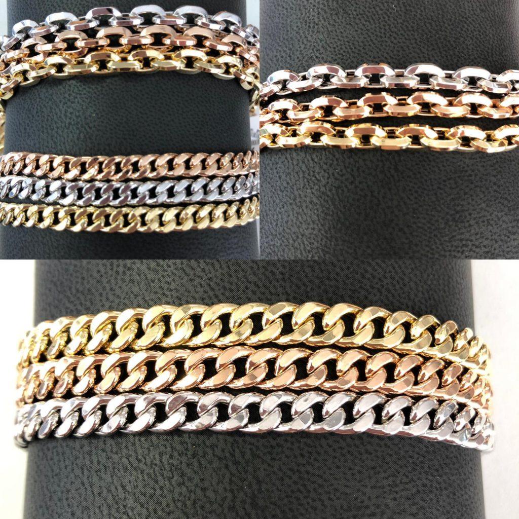 Pulseras barbadas en oro amarillo, blanco y rosa y pulseras forzadas también en los tres oros.