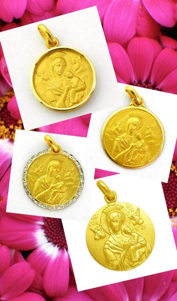Medallas de la Virgen del Perpetuo Socorro, disponible en distintas medidas y diferentes biseles.