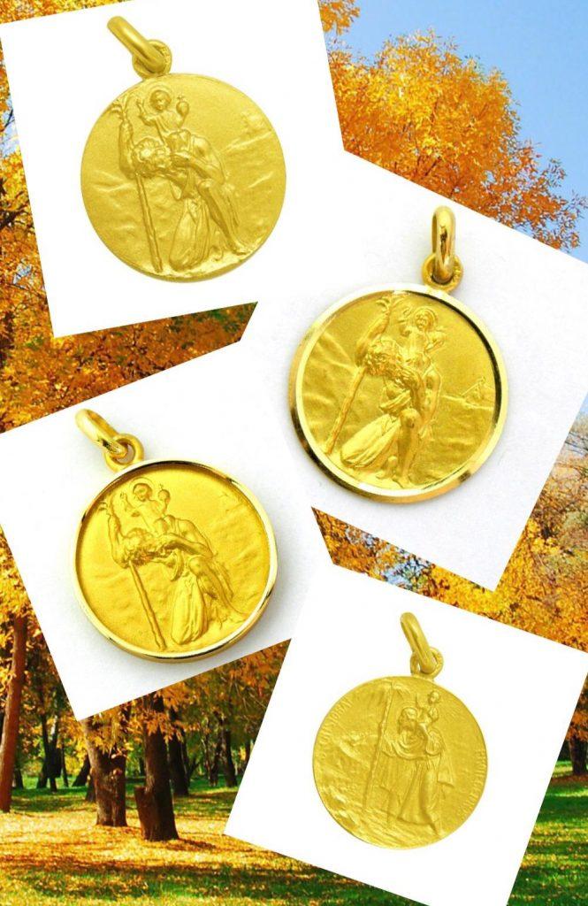 Medallas de San Cristobal en oro amarillo, disponibles en distintos tamaños y con diferentes biseles.