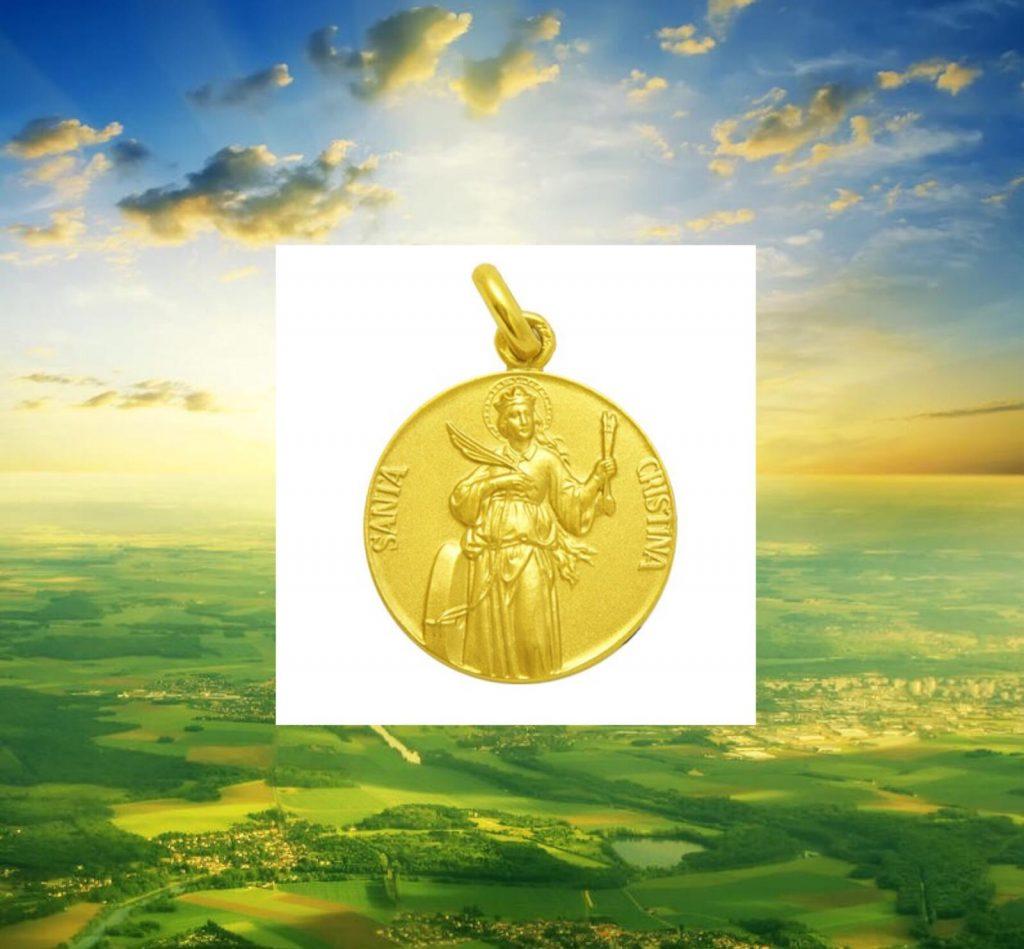Medalla de santa Cristina en oro amarillo, disponible en 20 milímetros.