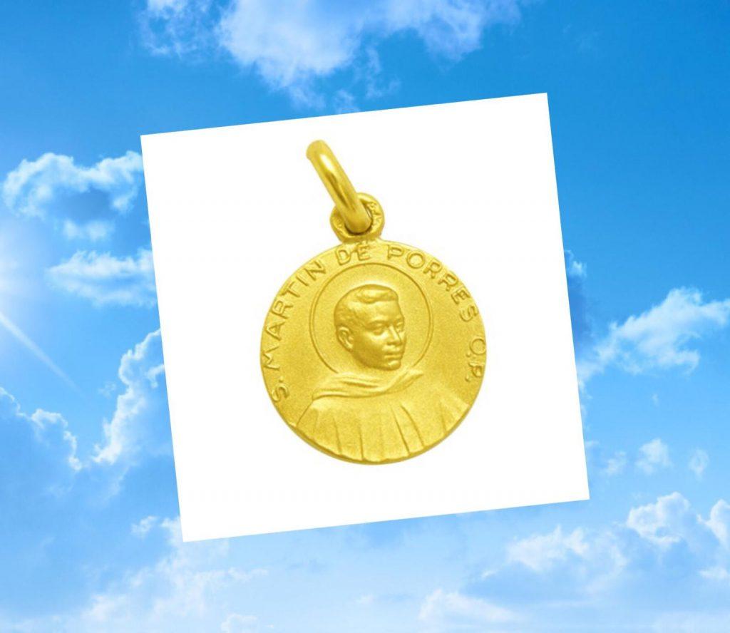 Medalla de San Martín de Porres, en oro amarillo, disponible en 16 milímetros.