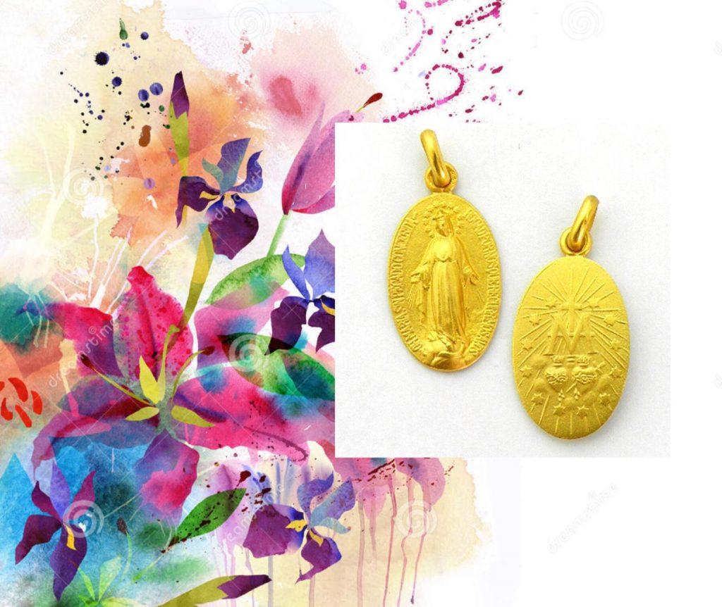 Medalla de la Virgen Milagrosa en oro amarillo, disponible en distintos tamaños.