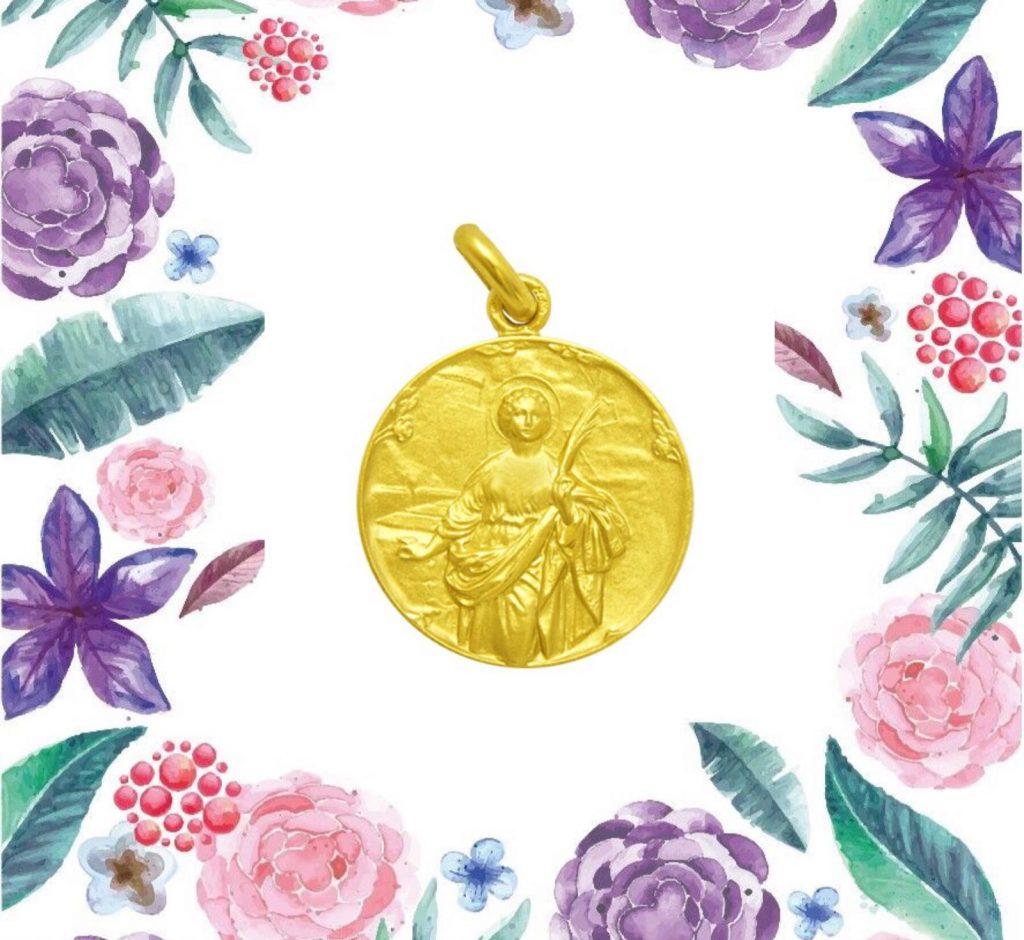 Medalla de Santa Barbara en oro amarillo, disponible en 20 milímetros.